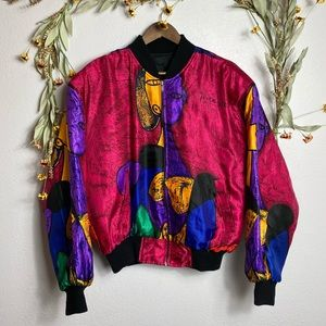 VINTAGE Picasso art silky bomber jacket